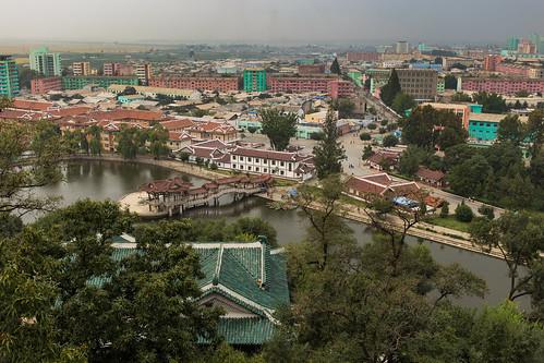 dprk northkorea korea sariwon city park landscape cityscape buildings