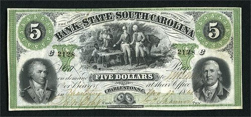State Bank of South Carolina $5 front