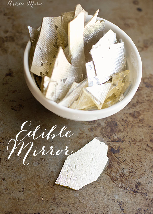 using silver leaf and isomalt it is easy to create edible mirrors, a sweet candy treat that can be used alone or on a cake or other dessert