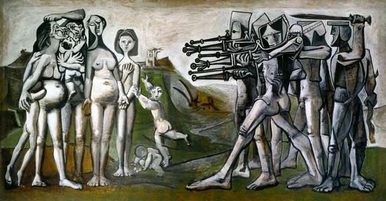 毕加索绘制于朝鲜战争期间的《朝鲜大屠杀》