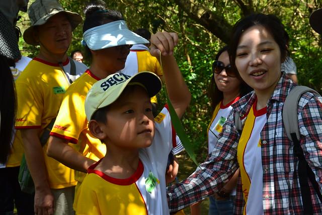 園區導覽帶領志工認識農場內的生態及動植物,小朋友正嗅著月桃葉香。攝影:陳千智