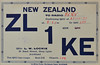 Vintage G5RV  DX QSL Card from ZL1KE  in New Zealand circa 1937