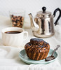 vegan carob muffin with raisins and poppy seeds