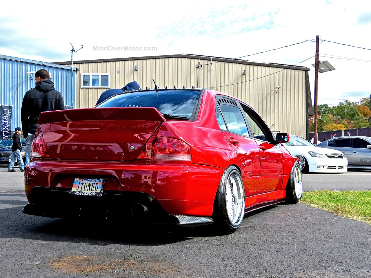 Stanced Red Mitsubishi Evo First Class Fitment 3