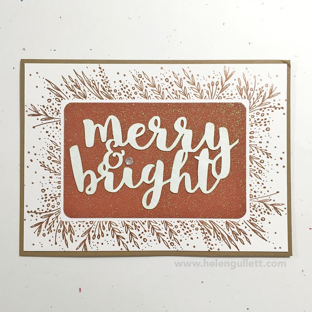 Merry & Bright: A Recycled Christmas Card by Helen Gullett | Blog at http://wp.me/p1DmW0-25K | #handmadecard #christmascard #diecutting #watercoloring #recycling #cardmaking #justnick #silhouettecameo
