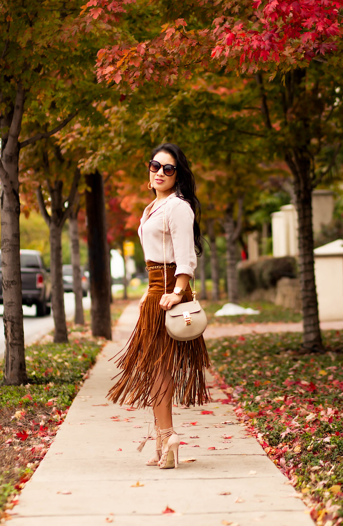cute & little blog | petite fashion | everlane silk blouse, suede fringe skirt, lace-up nude heel sandals, chloe drew | fall outfit