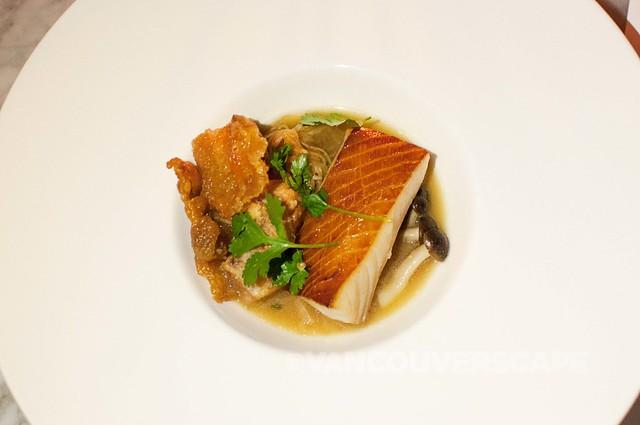 AnnaLena/Smoked sablefish, fried eggplant, daikon noodle, miso mushroom broth, chicken skin