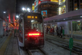 Susukino tramstop at Sapporo in evening on DEC 27, 2015 (20)