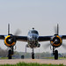"The ""Pacific Prowler,"" a B-25 Mitchell Bomber, taxis the runway at Grimes Field, Ohio, April 15, 2010.  The B-25 crew flew from Fort Worth, Texas, to participate in commemoration flights for the Doolittle Raiders' 68th reunion at Wright Patterson Air Force Base, Ohio.  The event honors the anniversary of the Doolittle Tokyo Raid.  On April 18, 1942, U.S. Army Air Forces Lt. Col. Jimmy Doolittle's squad of 16 B-25s bombed targets over Japan in response to the Japanese attack on Pearl Harbor. (U.S. Air Force photo by Tech. Sgt. Jacob N. Bailey / Released)"