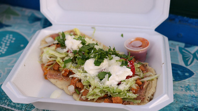 Huarache from La Michoacana Taco Truck in Ames, Iowa
