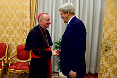 U.S. Secretary of State John Kerry shakes hands with Vatican Secretary of State Cardinal Pietro Parolin on December 2, 2016, before a bilateral meeting on Mediterranean issues following an Italian-hosted multinational conference about Mediterranean issues at the Vatican in Rome, Italy. [State Department photo/ Public Domain]