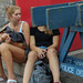 New York City Street Scenes - Two Young Tourists Take a Break from Sightseeing by Steven Pisano