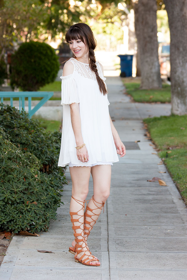Off the Shoulder Dress, Gladiator Sandals