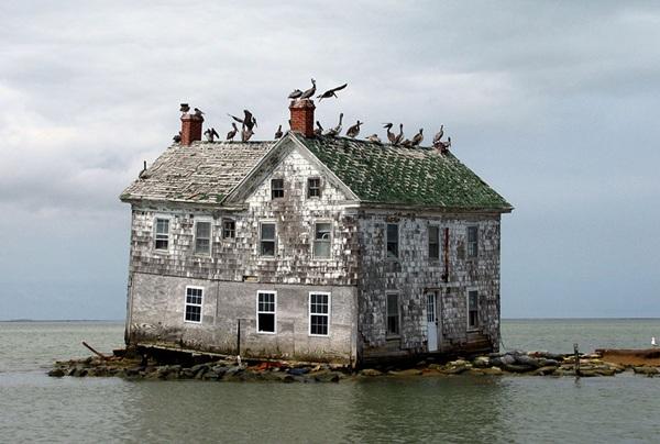 <strong>Ngôi Nhà Cuối Cùng </strong> trên đảo Holland, Mỹ. Khu vực này từng là một nơi sinh sống nhộn nhịp, tấp nập. Song một thời gian, ngày càng ít không gian để sinh sống và đến giờ, ngôi nhà này là chứng tích duy nhất còn lại sau khi bị bỏ hoang.