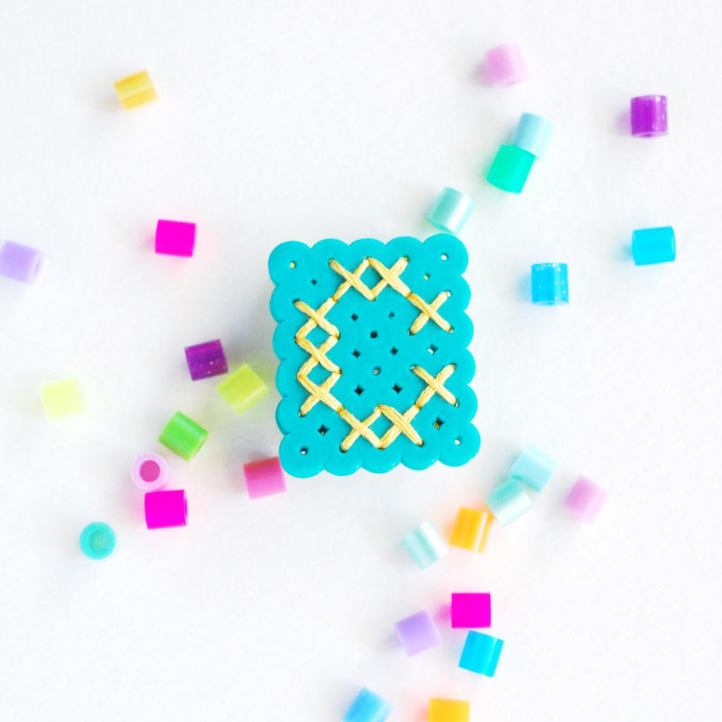 Perler Bead Monogram Pins