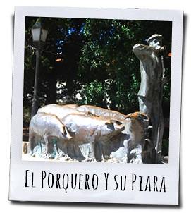 De varkenshoeder en zijn zwarte Iberische varkentjes