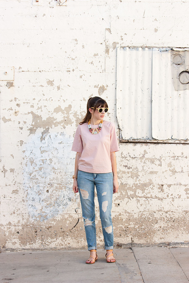 Distressed Boyfriend Jeans, Everlane Structure Top, History and Industry Necklace, Panda Sunglasses