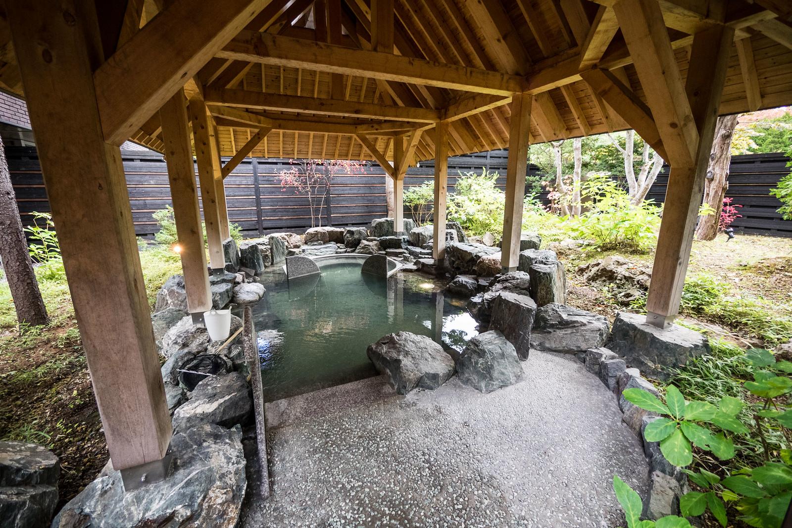 The outdoor pool at the Mizu no Uta Onsen, Lake Shikotsu, Hokkaido, Japan