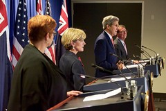 U.S. Secretary of State John Kerry addresses reporters at the Revere Hotel in Boston, Massachusetts, on October 13, 2015, during a four-way news conference with U.S. Defense Secretary Ash Carter and their Australian counterparts - Foreign Minister Julie Bishop and Defense Minister Marise Payne - following their annual AUSMIN diplomatic and defense meetings. [State Department photo/ Public Domain]