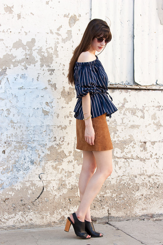 Tan Suede Skirt, Storets Top, Striped Off the Shoulder Top