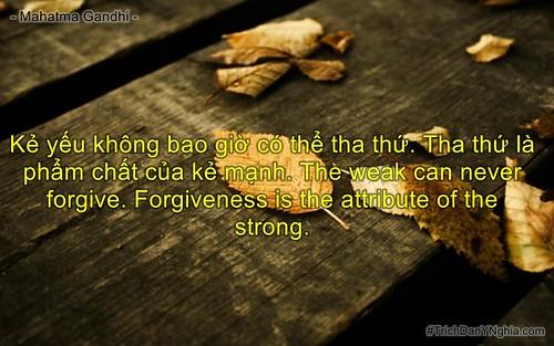 Kẻ yếu không bao giờ có thể tha thứ. Tha thứ là phẩm chất của kẻ mạnh. The weak