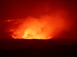 Kilaluea crater in eruption- Hawaii volcanoes national park