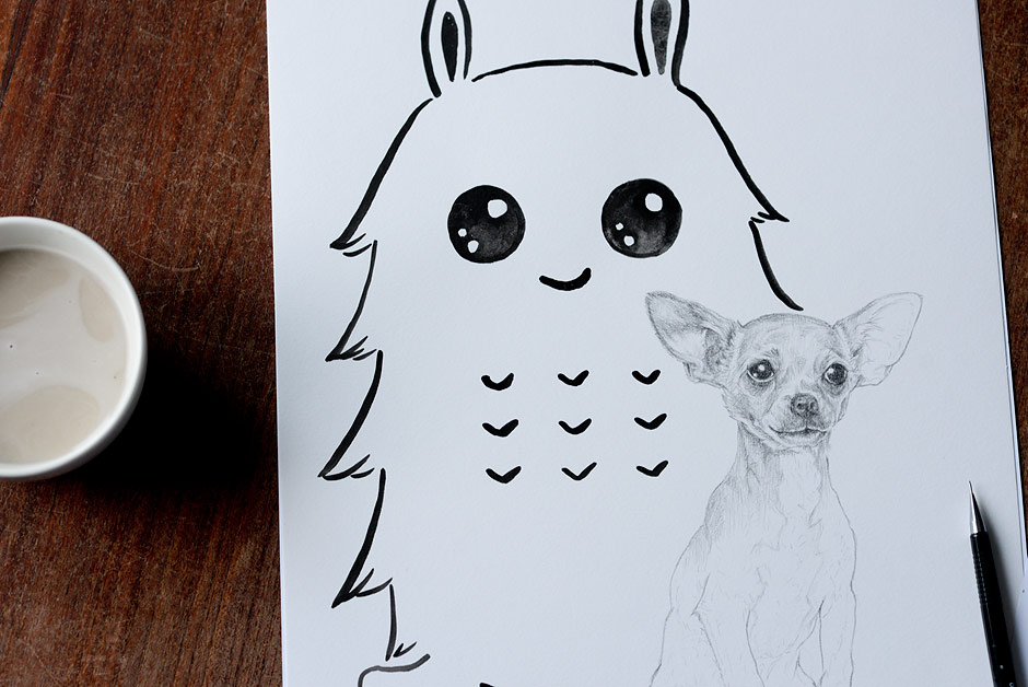 Drawing the cutest little chihuahua puppy