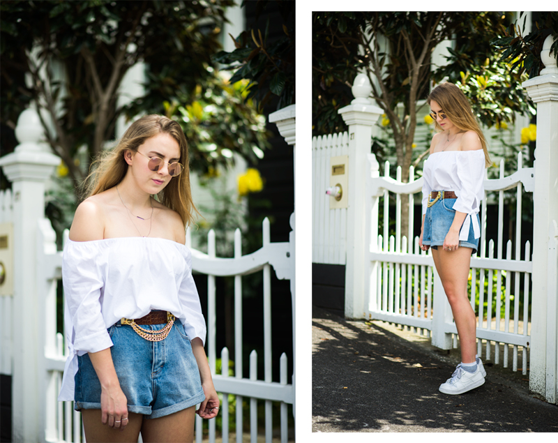 EDT. | StolenInspiration.com | Kendra Alexandra | NZ Fashion Blogger | Zara Off Shoulder, EDT Shorts, Beacon's Closet Belt, Round Reflective Ray-bans