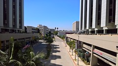 Looking west down Alden Drive from the bridge between the North and South Towers at Cedars-Sinai Hospital