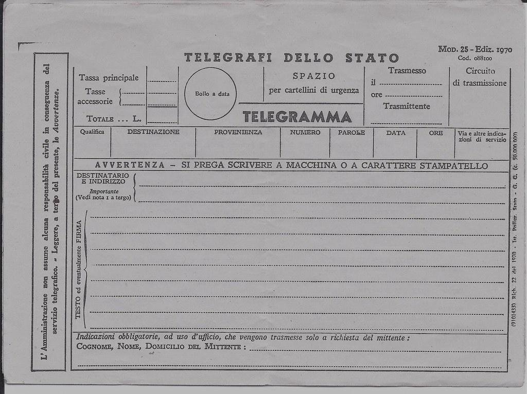 Telegramma It 1970 Modulo Telegramma Italia 1970 Sauro Imola