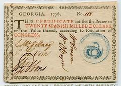 Georgia 1776 $20 note