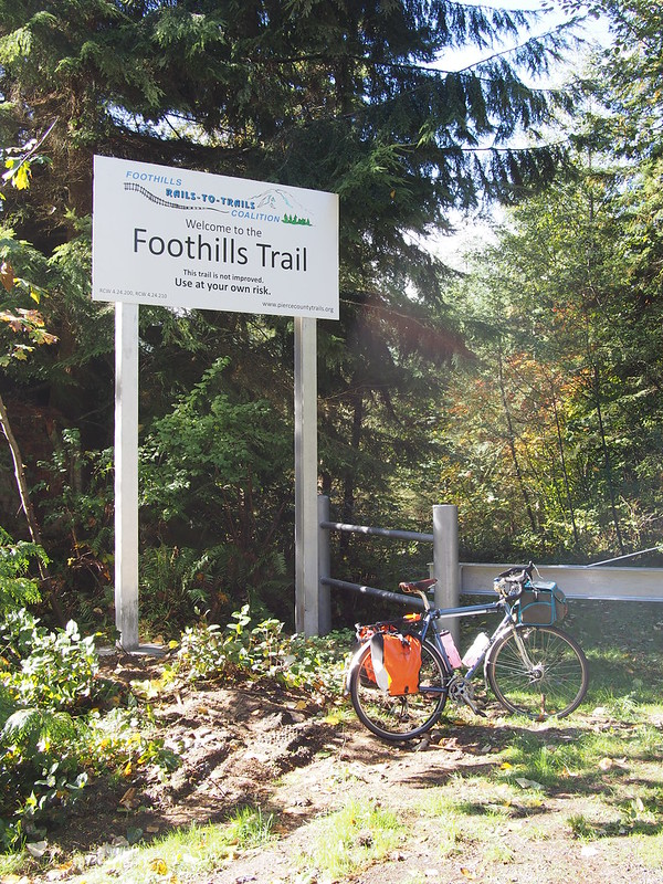 Foothills Trail Branch Entrance: Unlike the main section between Puyallup and Buckley, this section will likely never be 'improved' as it's rather 'out there.'  It ends at the ghost town of Melmont.