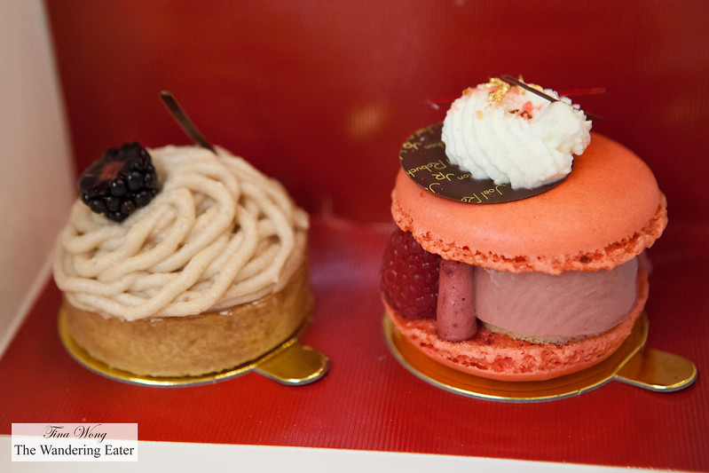 Mont Blanc tart and Raspberry lychee macaron to go