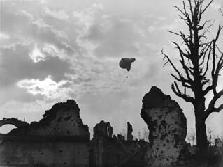 An observation balloon above the ruins of Ypres