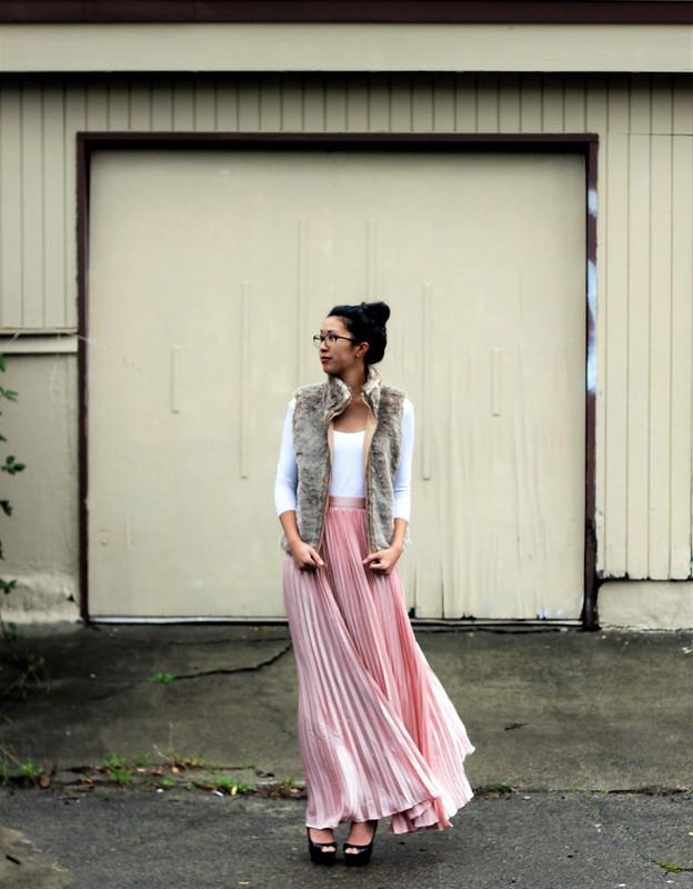 lulus maxi pleated skirt - ballerina