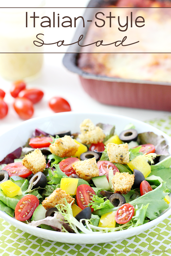 Italian-Style Salad in a bowl with fresh tomatoes.
