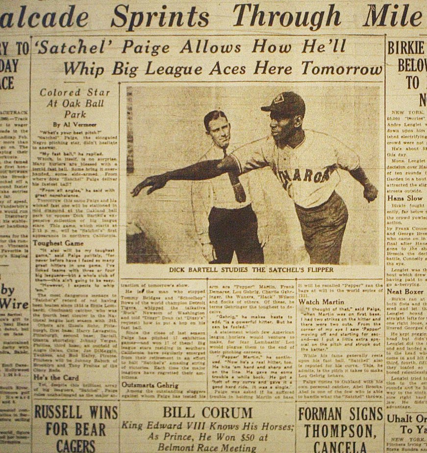 1936 GAME BETWEEN SATCHELL PAIGE AND JOE DIMAGGIO