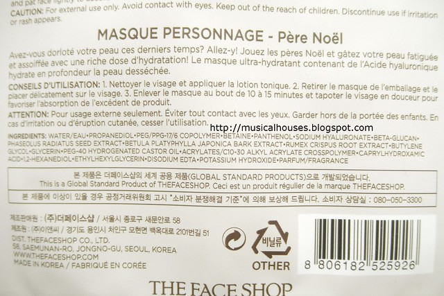The Face Shop Around The World Character Mask Ingredients Santa