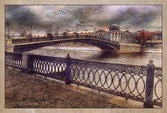 A large stone bridge. Moscow.