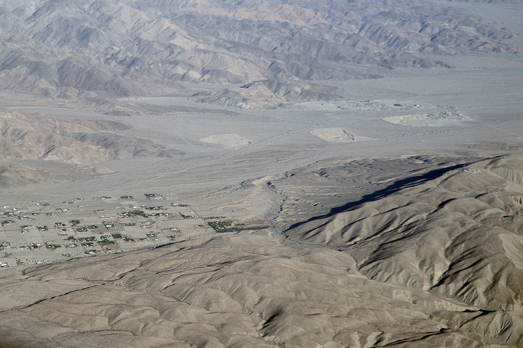 Aerial view of the Indio Hills Fault, Indio Hills, Riverside County, California