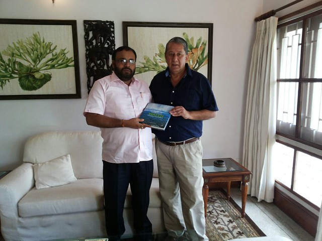 Presenting water book to Keshab Mahanta, Minister Flood Control, IT, Assam