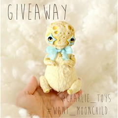 Giveaway time!  To get your hands this Moonchild,  🌠repost this image  🌠mention @charlie_toys and use the  #want_moonchild  🌠follow me  Giveaway closes 25.11.2016. The winner will be chosen randomly. Good luck 🌙  #giveaway #handmade
