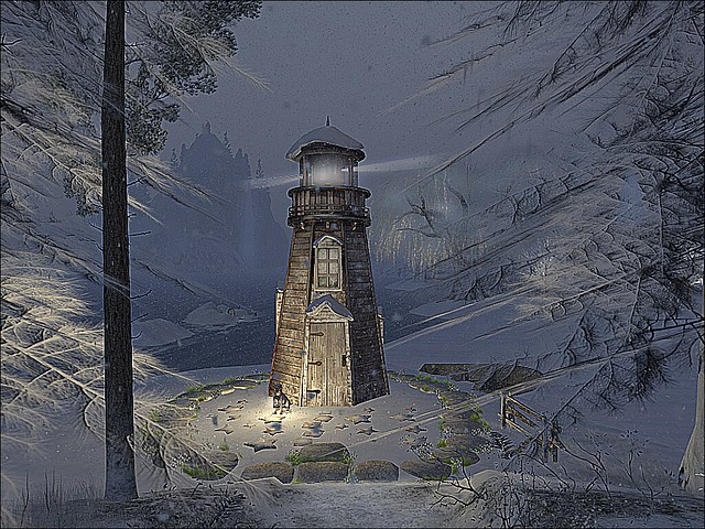 Winter Flakes - Windswept Lighthouse In the Snow II