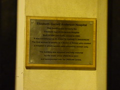 Photo of Elizabeth Garrett Anderson and Elizabeth Garrett Anderson Hospital, London brushed metal plaque
