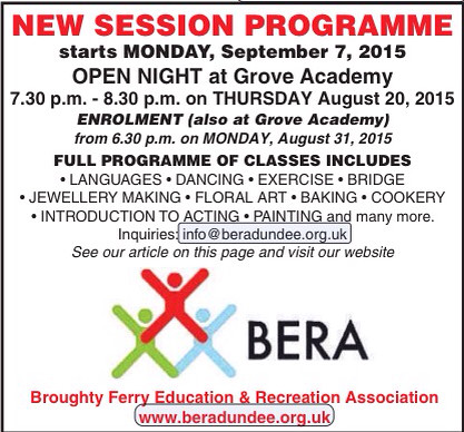 BERA's programme of evening classes in Broughty Ferry September - December 2015
