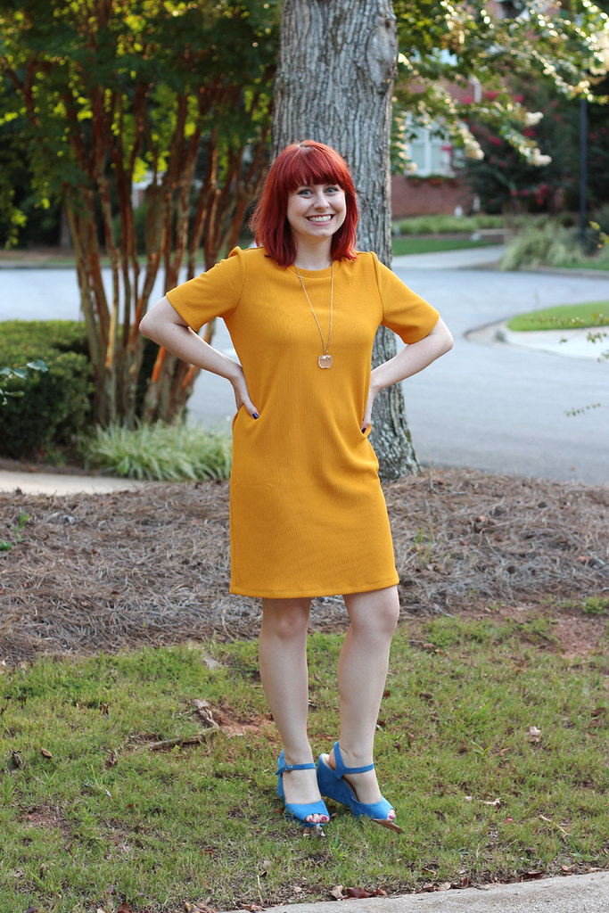 Mustard Yellow Shift Dress, Blue Peeptoe Wedges, and an Apple Necklace