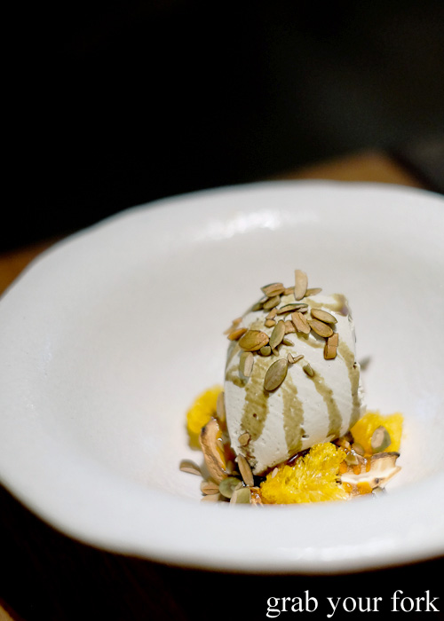 Pumpkin seed sorbet, bitters merinuge and mandarin at Automata, Chippendale