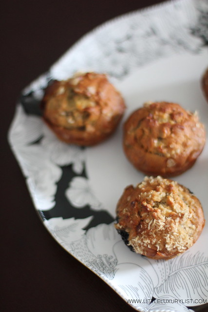 Sugar free banana muffins top side by little luxury list