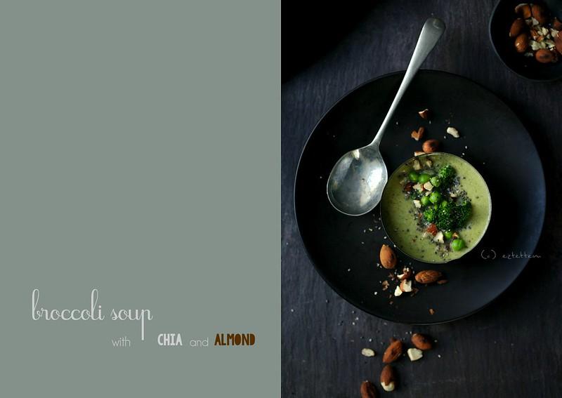 broccoli soup w/ chia and almond