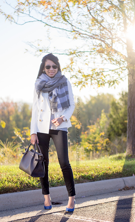 oversized plaid scarf, white blazer, oversized watch, blue suede pumps